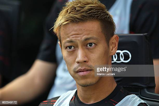 Keisuke Honda of AC Milan looks on before the Serie A match between AC Milan and Udinese Calcio at Stadio Giuseppe Meazza on September 11 2016 in...