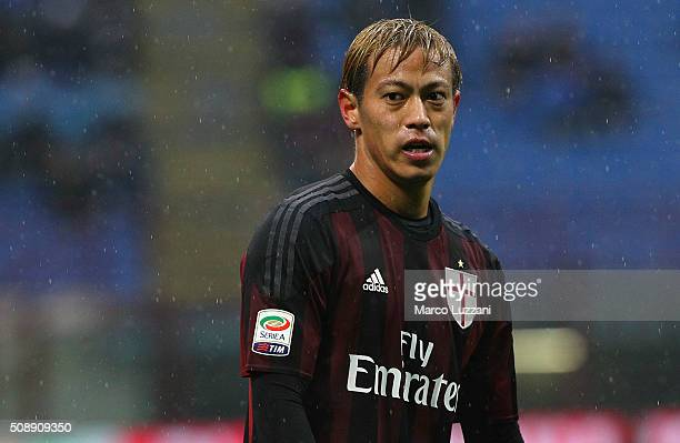 Keisuke Honda of AC Milan looks on during the Serie A match between AC Milan and Udinese Calcio at Stadio Giuseppe Meazza on February 7 2016 in Milan...