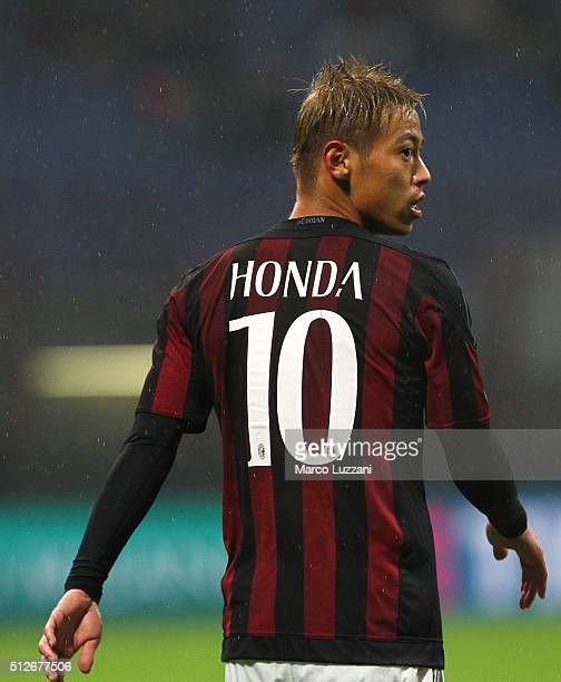 Keisuke Honda of AC Milan looks on during the Serie A match between AC Milan and Torino FC at Stadio Giuseppe Meazza on February 27 2016 in Milan...
