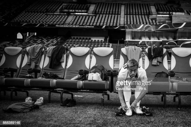 Keisuke Honda of CF Pachuca during a visit at the stadium ahead of their FIFA Club World Cup UAE 2017 match against Wydad Casablanca at the Zayed...