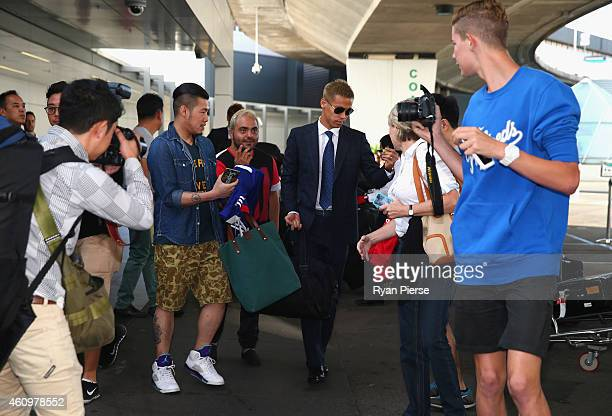 Keisuke Honda of Japan arrives ahead of the 2015 Asian Cup at Sydney International Airport on January 3 2015 in Sydney Australia