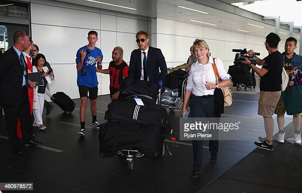 Keisuke Honda of Japan arrives ahead of the 2015 Asian Cup at Sydney International Airport on January 3 2015 in Sydney Australia