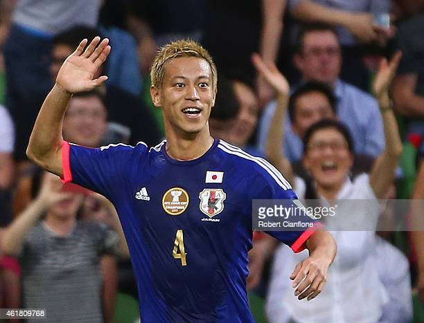 Keisuke Honda of Japan celebrates after he scored a goal during the 2015 Asian Cup match between Japan and Jordan at AAMI Park on January 20, 2015 in...