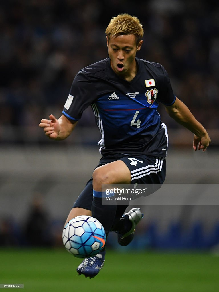 Keisuke Honda of Japan in action during the 2018 FIFA World Cup Qualifier match between Japan and Saudi Arabia at Saitama Stadium on November 15, 2016 in Saitama, Japan.
