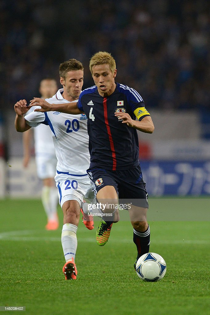 Keisuke Honda of Japan in action during the international friendly match between Japan and Azerbaijan at Ecopa Stadium on May 23, 2012 in Kakegawa, Japan.