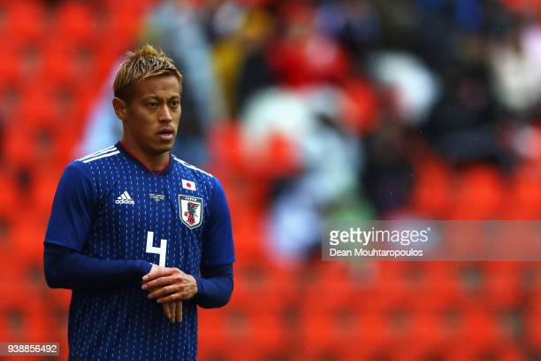 Keisuke Honda of Japan in action during the International friendly match between Japan and Ukraine held at Stade Maurice Dufrasne on March 27 2018 in...