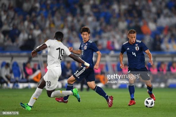 Keisuke Honda of Japan in action during the international friendly match between Japan and Ghana at Nissan Stadium on May 30 2018 in Yokohama...
