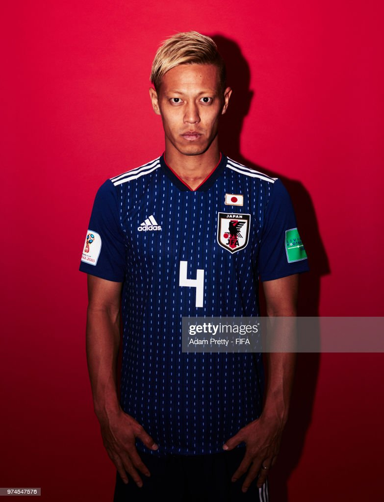 Keisuke Honda of Japan poses for a portrait during the official FIFA World Cup 2018 portrait session at the FC Rubin Training Grounds on June 14, 2018 in Kazan, Russia.