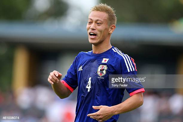 Keisuke Honda of Japan reacts to a referees decision during the Asian Cup practice match between Japan and Auckland City on January 4 2015 in...