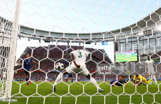 Keisuke Honda of Japan scores his team's second goal during the 2018 FIFA World Cup Russia group H match between Japan and Senegal at Ekaterinburg...