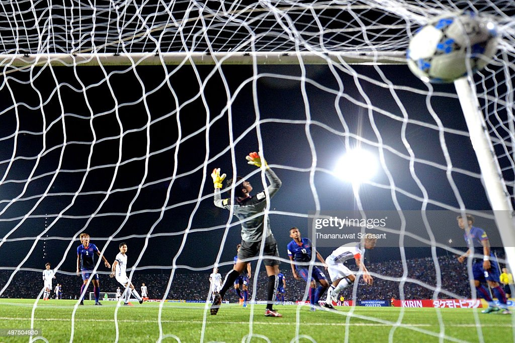 Keisuke Honda #4 of Japan scores the goal during the 2018 FIFA World Cup Qualifier match between Cambodia and Japan on November 17, 2015 in Phnom Penh, Cambodia.