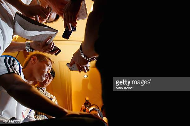 Keisuke Honda of Japan speaks to the press during a media session at the Hyatt Regency Clearwater Beach Resort and Spa on May 31 2014 in Clearwater...