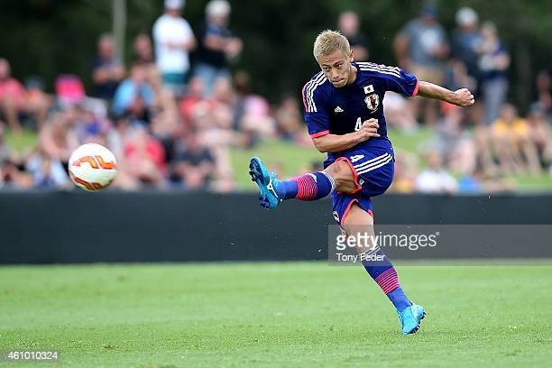 Keisuke Honda of Japan takes a free kick during the Asian Cup practice match between Japan and Auckland City on January 4, 2015 in Cessnock,...
