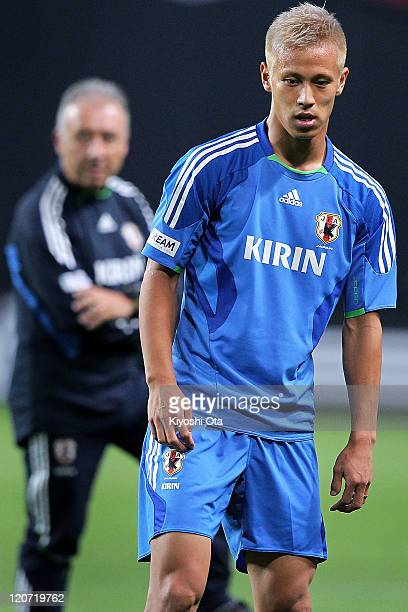Keisuke Honda of Japan takes part in the Japan national team training session ahead of the Kirin Challenge Cup international friendly match against...