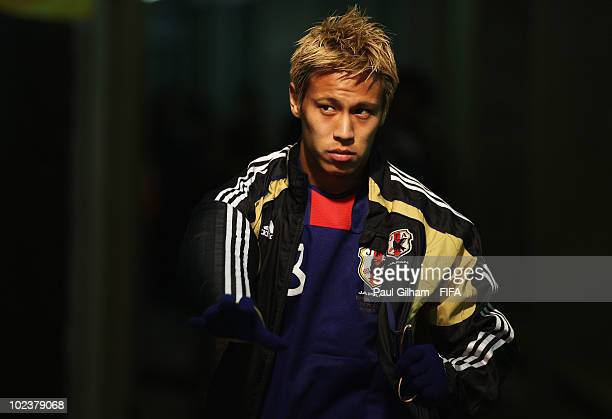 Keisuke Honda of Japan waits in the tunnel before the 2010 FIFA World Cup South Africa Group E match between Denmark and Japan at the Royal Bafokeng...