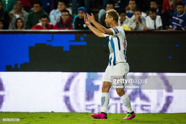 Keisuke Honda of Pachuca celebrates after scoring the fourth goal of his team during the 11th round match between Pachuca and Cruz Azul as part of...