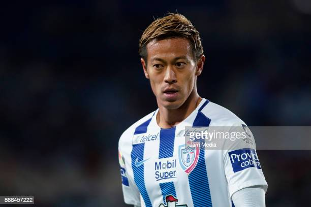 Keisuke Honda of Pachuca celebrates after scoring the second goal of his team during the round of sixteen match between Pachuca and Zacatepec as part...