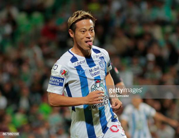 Keisuke Honda of Pachuca celebrates after scoring the second goal of his team during the 15th round match between Santos Laguna and Pachuca as part...