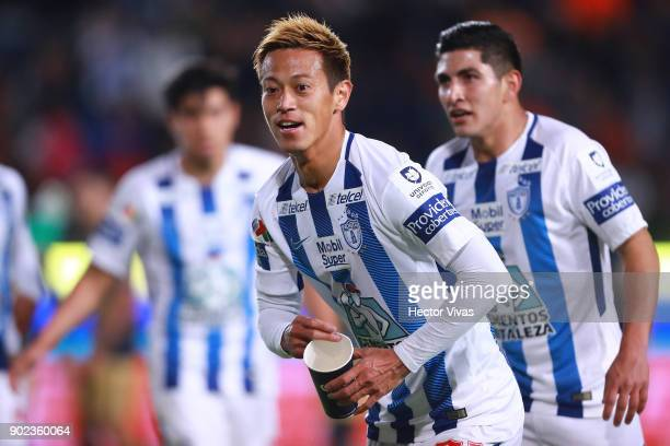 Keisuke Honda of Pachuca celebrates after scoring the second goal of his team during the first round match between Pachuca and Pumas UNAM as part of...