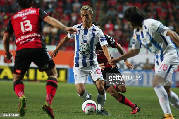 Keisuke Honda of Pachuca controls the ball during the seventh round match between Tijuana and Pachuca as part of the Torneo Apertura 2017 Liga MX at...