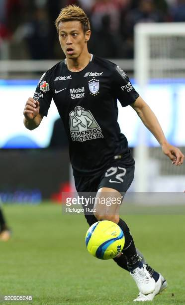 Keisuke Honda of Pachuca drives the ball during the 8th round match between Chivas and Pachuca as part of the Torneo Clausura 2018 Liga MX at Akron...