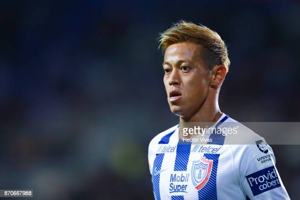 Keisuke Honda of Pachuca gestures during the 16th round match between Pachuca and Queretaro as part of the Torneo Apertura 2017 Liga at Hidalgo...