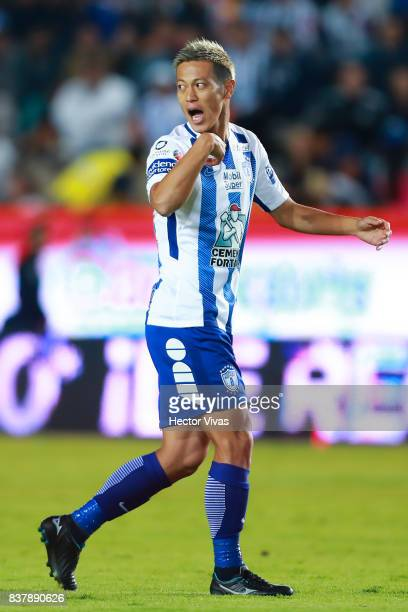 Keisuke Honda of Pachuca gestures during the sixth round match between Pachuca and Veracruz as part of the Torneo Apertura 2017 Liga MX at Hidalgo...
