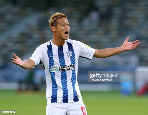 Keisuke Honda of Pachuca in action during the FIFA Club World Cup match between CF Pachuca and Wydad Casablanca at Zayed Sports City Stadium on...