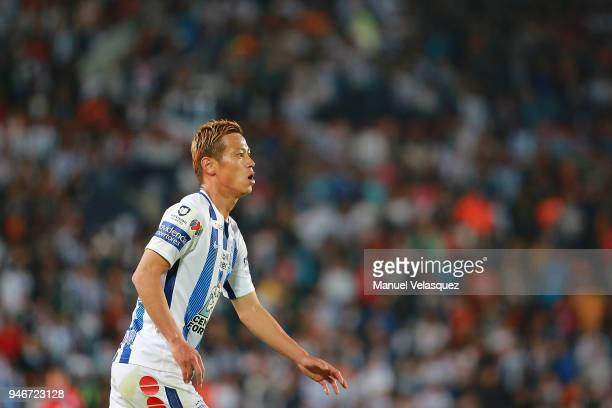 Keisuke Honda of Pachuca looks on during the 15th round match between Pachuca and Santos Laguna as part of the Torneo Clausura 2018 Liga MX at...