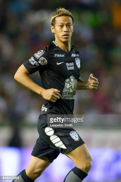 Keisuke Honda of Pachuca looks on during the 9th round match between Leon and Pachuca as part of the Torneo Apertura 2017 Liga MX at Leon Stadium on...