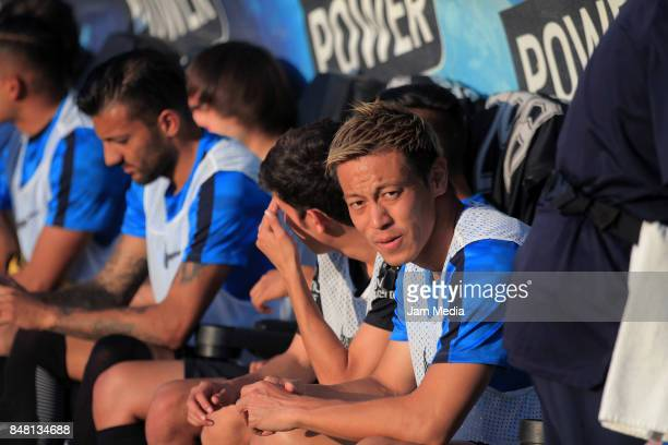 Keisuke Honda of Pachuca looks on prior to the 9th round match between Leon and Pachuca as part of the Torneo Apertura 2017 Liga MX at Leon Stadium...