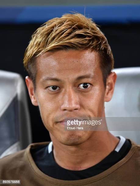 Keisuke Honda of Pachuca looks on prior to the FIFA Club World Cup UAE 2017 third place play off match between Al Jazira and CF Pachuca at the Zayed...