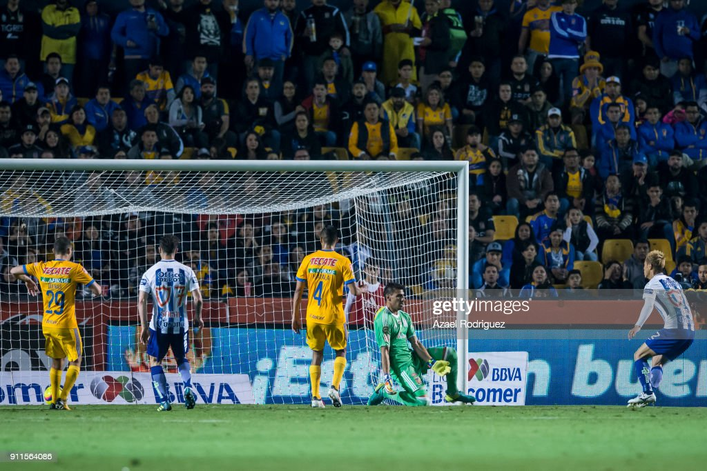Keisuke Honda of Pachuca scores his team's second goal during the 4th round match between Tigres UANL and Pachuca as part of the Torneo Clausura 2018 Liga MX on January 27, 2018 in Monterrey, Mexico.