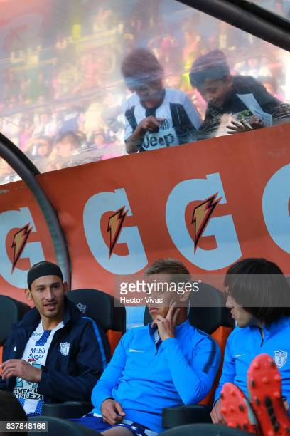 Keisuke Honda of Pachuca sits on the bench prior the sixth round match between Pachuca and Veracruz as part of the Torneo Apertura 2017 Liga MX at...