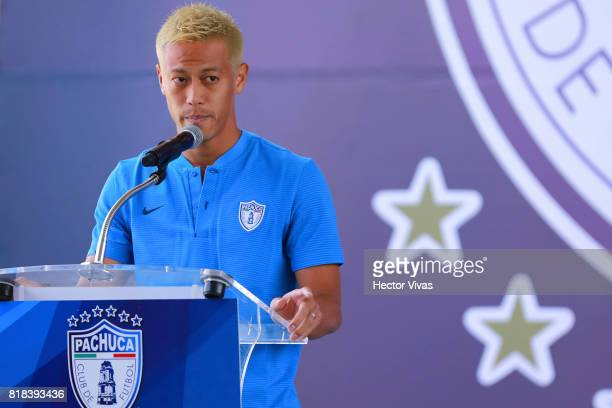 Keisuke Honda of Pachuca speaks during a press conference to unveil Pachuca's new signings at Universidad del Futbol y Ciencias del Deporte on July...