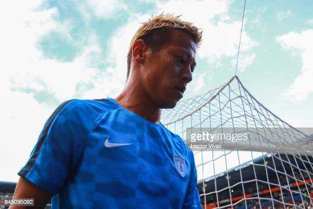 Keisuke Honda of Pachuca walks off the field prior the 8th round match between Pachuca and Chivas as part of the Torneo Apertura 2017 Liga MX at...