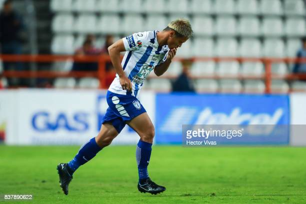 Keisuke Honda of Pachuca walks onto the field during the sixth round match between Pachuca and Veracruz as part of the Torneo Apertura 2017 Liga MX...