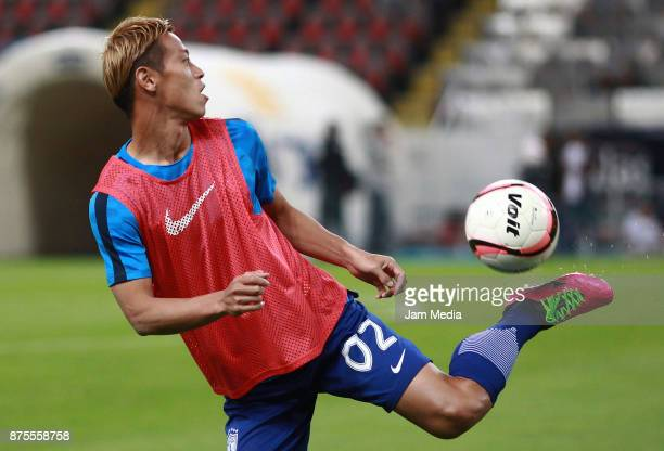Keisuke Honda of Pachuca warms up prior the 17th round match between Atlas and Pachuca as part of the Torneo Apertura 2017 Liga MX at Jalisco Stadium...
