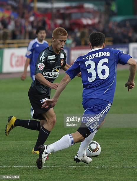 Keisuke Honda of PFC CSKA Moscow in action during the Russian Football League Championship match between FC Tom, Tomsk and PFC CSKA Moscow on...