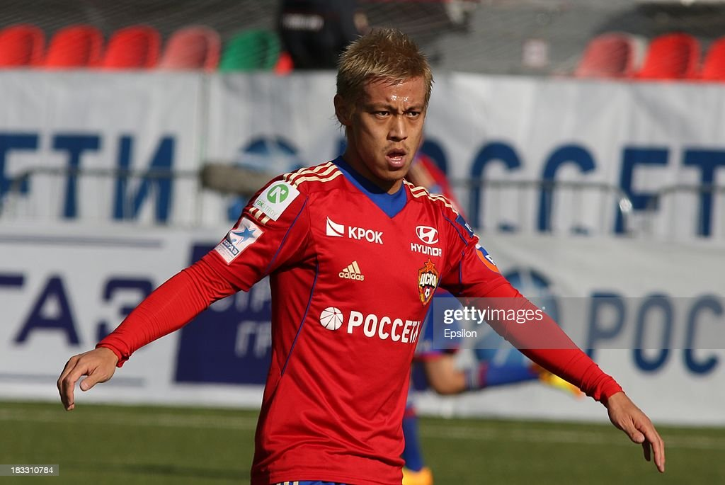 Keisuke Honda of PFC CSKA Moscow in action during the Russian Premier League match between PFC CSKA Moscow and FC Dinamo Moscow on October 6, 2013 in Moscow, Russia.