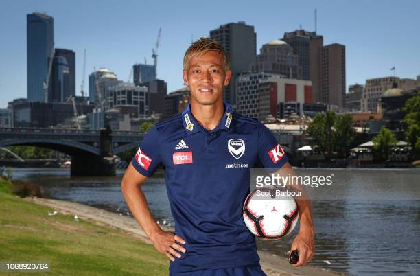 Keisuke Honda of the Melbourne Victory poses during a Melbourne Victory ALeague media opportunity on the Yarra River on December 6 2018 in Melbourne...