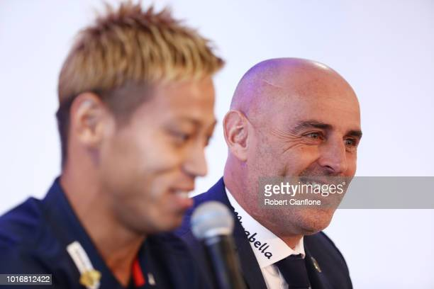 Keisuke Honda of the Victory and Melbourne Victory Head Coach Kevin Muscat attend a Melbourne Victory ALeague press conference at AAMI Park on August...