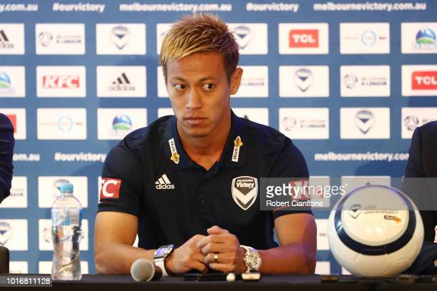 Keisuke Honda of the Victory attends a Melbourne Victory ALeague press conference at AAMI Park on August 15 2018 in Melbourne Australia The Japanese...