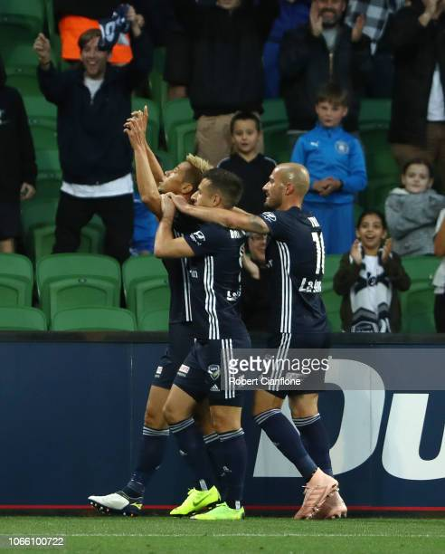 Keisuke Honda of the Victory celebrates after scoring a goal during the round four ALeague match between the Melbourne Victory and the Central Coast...