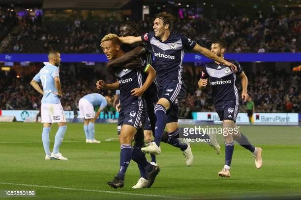 Keisuke Honda of the Victory celebrates after scoring a goal of the Victory celebrates after scoring a goal during the round one ALeague match...