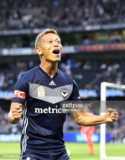 Keisuke Honda of the Victory celebrates scoring a goal during the Round 6 A-League match between Melbourne Victory and the Western Sydney Wanderers...
