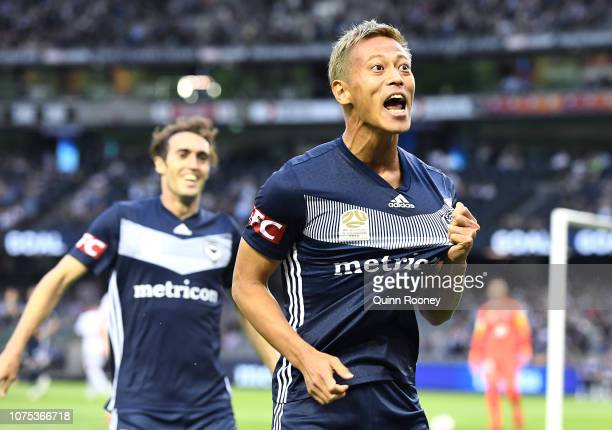 Keisuke Honda of the Victory celebrates scoring a goal during the Round 6 ALeague match between Melbourne Victory and the Western Sydney Wanderers at...