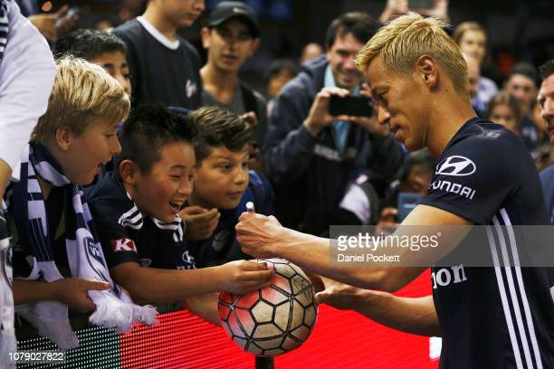 Keisuke Honda of the Victory greets fans during the round seven ALeague match between Melbourne Victory and Adelaide United at Marvel Stadium on...