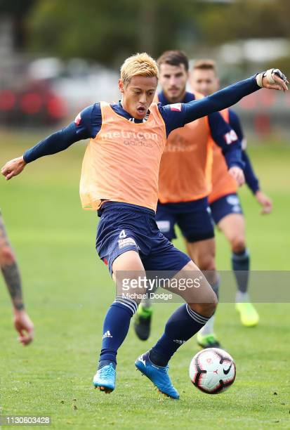 Keisuke Honda of the Victory kicks the ball during the Melbourne Victory Training Session at Gosch's Paddock on February 19, 2019 in Melbourne,...