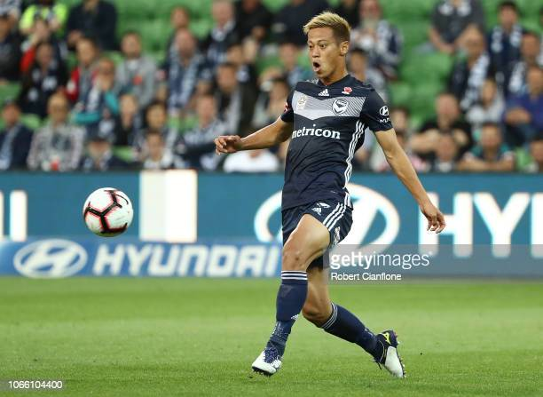 Keisuke Honda of the Victory kicks the ball during the round four ALeague match between the Melbourne Victory and the Central Coast Mariners at AAMI...